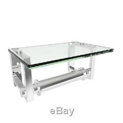 Frame Double Post Glass-Covered Toilet Tissue Holder in Polished Chrome
