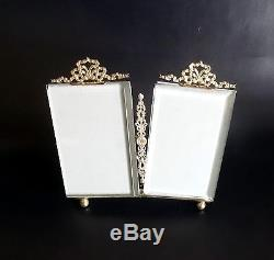 French Antique Brass & Beveled Glass Double Photo Frame Nap III