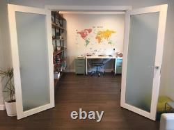 French Double Frosted Glass Doors 48 X 96 Planum 2102 White Silk Frames Trim