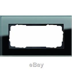 GIRA 100205 Double-Panel Cover Frames Without Central Strip Glass Black