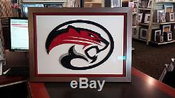 Houston Cougars- Hand cut logo with double frame & double glass 27.75 X 21.75