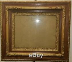 Huge 1800s Double Oak Triple Gesso & Gold Leaf Picture Frame Original with Glass