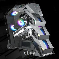 K1 Gray Mid-Tower Open Frame Gaming Computer Case ATX/M-ATX Dual Tempered Glass