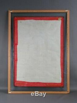 Large Vintage Painting Indian Painting on Fabric with Frame Double Glass