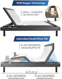 Maxx Wall Hugger Adjustable Bed Frame With Okin Motor, Electric Bed Base With Du