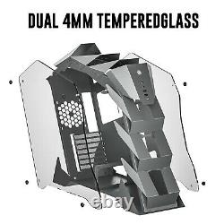 Mid-Tower Open Frame Gaming Computer Case ATX/Micro-ATX/ITX Dual Tempered Glass