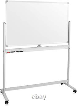 Mobile Whiteboard, Double Sided Dry Erase Board Aluminum Frame, Rolling Stand &