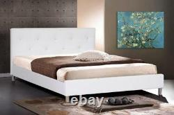 Modern White, Black Or Pink Faux Leather Double Full Bed Frame Crystal Tufted
