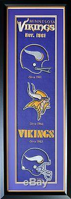 NFL Minnesota Vikings Heritage Wool Stiched Double Matted Glass Framed Banner