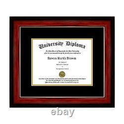 New Single Diploma Frame with Double Matting in asst. Moldings School Colors UV