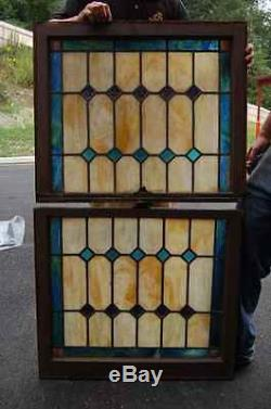 + Nice Double Hung Stained Glass Window in wood frame +