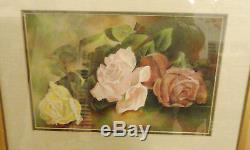 Original Watercolor Yellow And Pink Roses Framed Double Matted Under Glass Sign