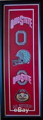 Ohio State Heritage Wool Double Matted Framed Glass Banner NCAA