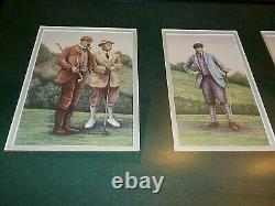 Old time golf picture, 3 prints double matted, wood frame, 16 x 27, glass