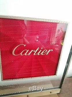 Original CARTIER Double Sided SIGN POS Metal Frame Glass