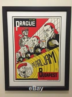 PEARL JAM Prague & Budapest 1996 framed poster with double matte & museum glass
