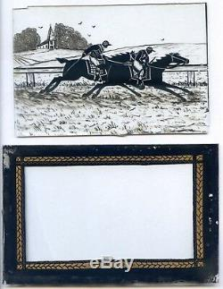 Rare double reverse-glass miniature painting of the Ascot Gold Cup of 1831