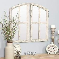 Rustic Mirrored Window Pane Farmhouse Whitewashed Double Wall Frame Country Chic