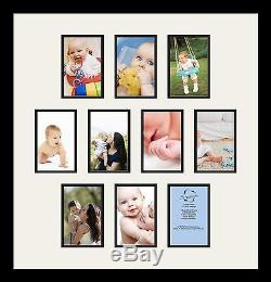 Satin Black Collage Picture Frame with 10 4x6 opening(s), Double Matted