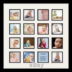 Satin Black Collage Picture Frame with 16 4x4 opening(s), Double Matted