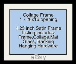 Satin Black Collage Picture Frame with 1 16x20 opening(s), Double Matted