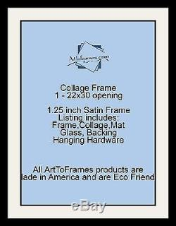 Satin Black Collage Picture Frame with 1 22x30 opening(s), Double Matted