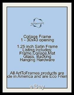 Satin Black Collage Picture Frame with 1 30x40 opening(s), Double Matted