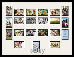 Satin Black Collage Picture Frame with 21 4x6 opening(s), Double Matted