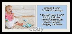 Satin Black Collage Picture Frame with 2 16x20 opening(s), Double Matted