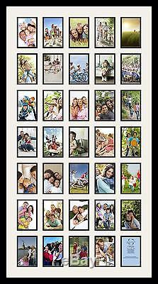 Satin Black Collage Picture Frame with 35 4x6 opening(s), Double Matted