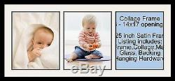 Satin Black Collage Picture Frame with 3 14x17 opening(s), Double Matted