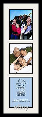 Satin Black Collage Picture Frame with 3 8.5x11 opening(s), Double Matted