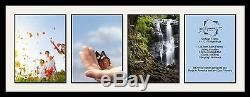 Satin Black Collage Picture Frame with 4 12x16 opening(s), Double Matted