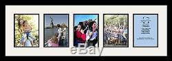 Satin Black Collage Picture Frame with 5 6x8 opening(s), Double Matted