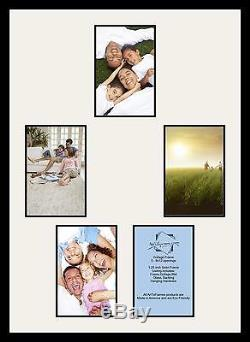Satin Black Collage Picture Frame with 5 8x12 opening(s), Double Matted