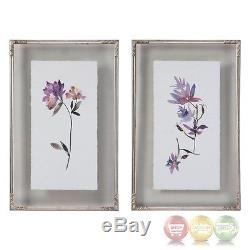 Set Of 2, Delicate Floral Watercolors Art Framed On Double Glass Frames, 19x31