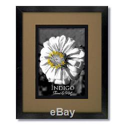 Set of 12 8x10 Black Wood Picture Frames, Glass, White Double Mats for 5x7