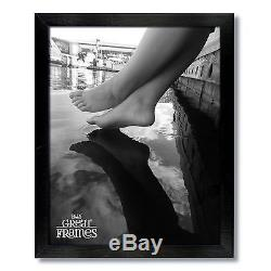Set of 24 8x10 Black Wood Picture Frames, Glass, White Double Mats for 4x6