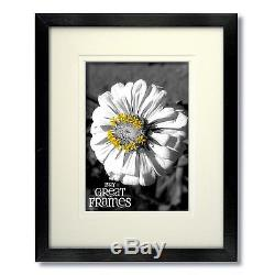 Set of 24 8x10 Black Wood Picture Frames, Glass, White Double Mats for 5x7