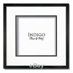 Set of 3 10x10 Square Black Picture Frames, Glass, White Double Mats for 7x7