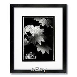Set of 3 12x16 Black Wood Frames, Clear Glass, White Double Mats for 8x12
