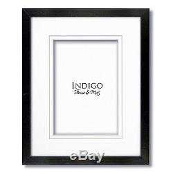 Set of 3 12x16 Black Wood Frames, Clear Glass, White Double Mats for 9x12