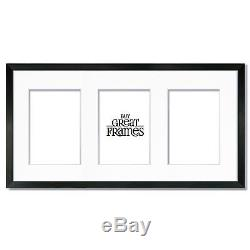 Set of 6 10x20 Black Wood Frames, Glass, Double White Mat for three 5x7