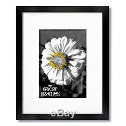 Set of 6 11x14 Black Wood Frames, Clear Glass, White Double Mats for 8x10
