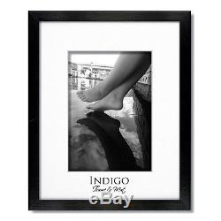 Set of 6 8x10 Black Wood Picture Frames, Glass, White Double Mats for 5x7