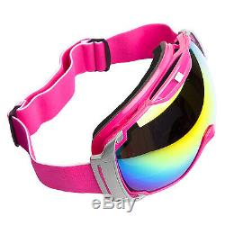 Ski Goggles Anti-fog PC&CA Color Double Lens Adult Snowboard Pink & Silver Frame
