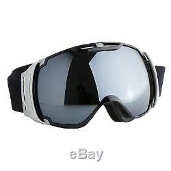 Ski Goggles Anti-fog PC&CA Grey Double Lens Adult Snowboard Black & Silver Frame