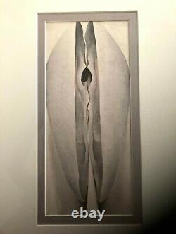 Sold as pair Georgia O'Keefe prints, double matted, glass and black wood frame