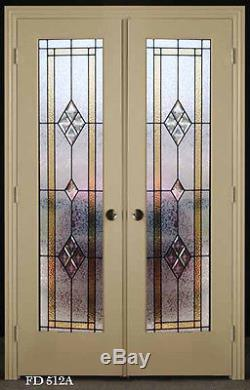 Stain glass Double interior Doors pre-hung in Frame Wow