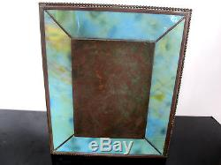 TIFFANY Favrile Grapevine Pattern Bronze & Slag Glass Double Photograph Frame